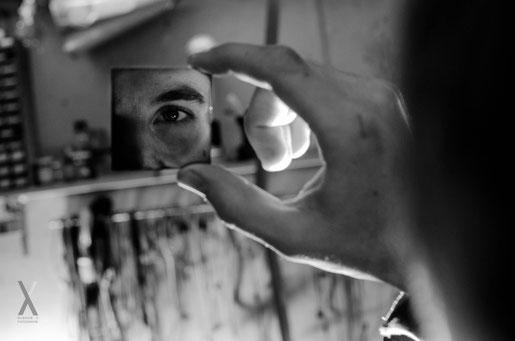 Spiegel Reflektion Auge Schwarz Weiss Quadrat Werkstatt Technik Geheimnisvoll