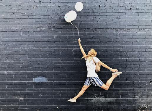 Luftballon Ballon Graffity Wand Kunst Las Vegas Art District Kunst Viertel Geburtstag Jubiläum