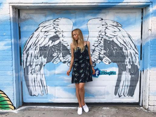 Wandkunst Kunst Graffitti Las Vegas Art District Flügel Engelsflügel USA Blog