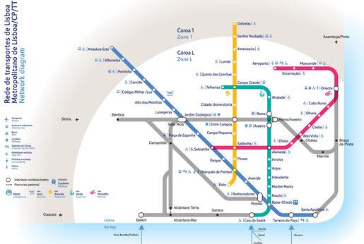 Der Metro-Netz-Plan von Lissabon.