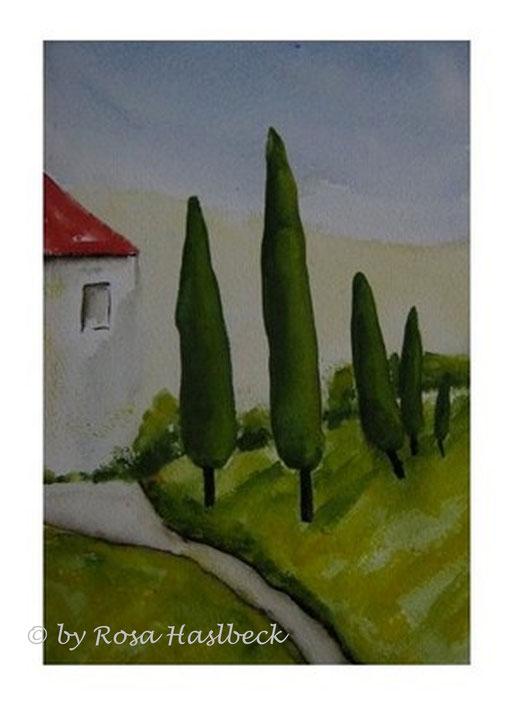 aquarell, landschaft, landschaftsaquarell, haus, bäume, blau, grün,  braun, rot, toskana, toskanaaquarell, toskanalandschaft, bild, kunst, bilder, malerei, malen, deko, dekoration, wandbilder, wand, geschenkidee, geschenke,malen, malerei, handgemalt,