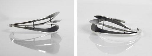 Bracelet Agate - argent et argent noirci- Nelly Chemin - bijoux contemporains