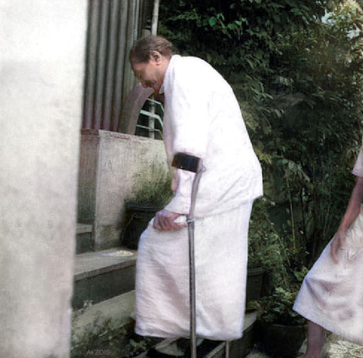 Meher Baba getting exercise at the Locarno property. Image colourized by Anthony Zois.