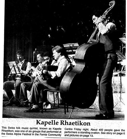 Gefunden !! Zeitungsauschnitt vom Auftritt in Fernie Kanada. 1989