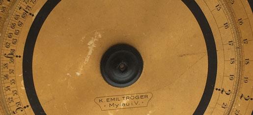 Regla de cálculo circular o círculo de cálculo TRÖGER