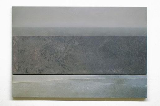 Scaletta VIII  2019   Kunstharz, Pigment, Steinmehl, Ölfarbe  auf Holz  2 Teile  65 x 130 cm / 21,7 x 130 cm