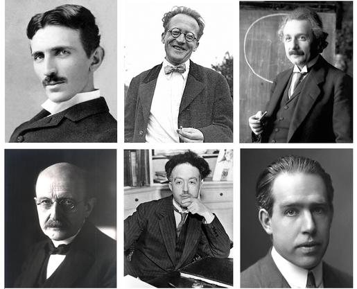 Abb.: (v.o.l.n.r.) Nikola Tesla, Erwin Schrödinger, Albert Einstein Max Planck, Louis De Broglie, Niels Bohr