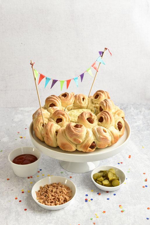 Hot Dog Zupfbrot, perfekt für Partys, vegetarisch, vegan möglich, Thermomix
