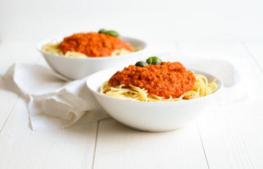 Paprika Bolognese vegetarisch bzw vegan z B aus dem Thermomix