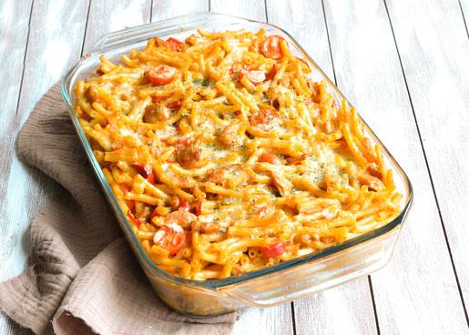 Makkaroni Gyros Auflauf, würzig und lecker, einfache Zubereitung, Mittagessen, vegetarisch und vegan möglich