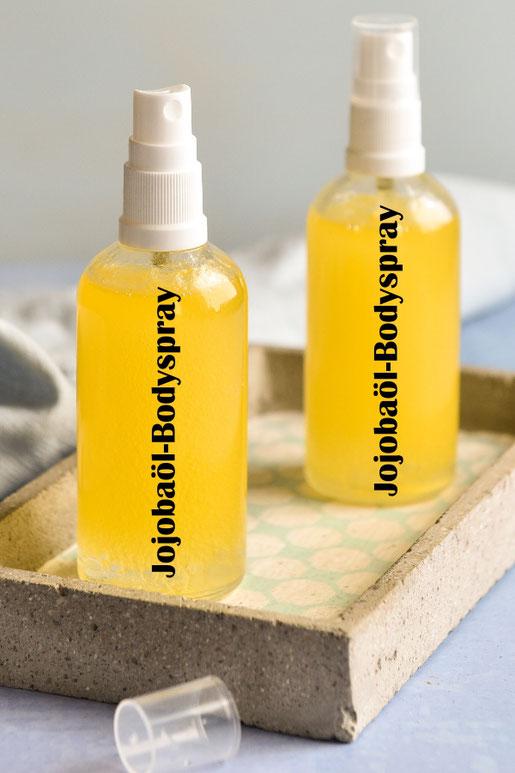Jojobaöl Bodyspray statt Bodylotion für eine geschmeidige Haut ohne störenden Fettfilm