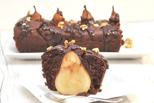 Schokoladenkuchen mit ganzer Birne und Walnüsse vegan Thermomix