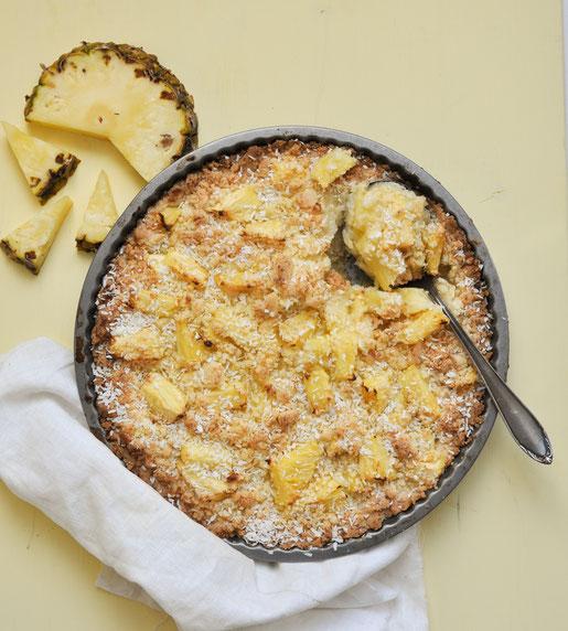 Ananas Crumble als Dessert nur 5 Zutaten, vegan möglich, Thermomix