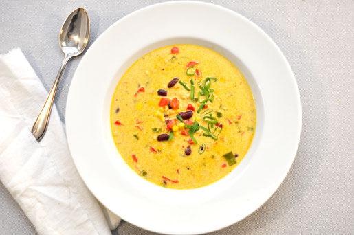 Chili Käse Suppe mit Hackfleisch vegetarisch aus dem Thermomix vegan möglich