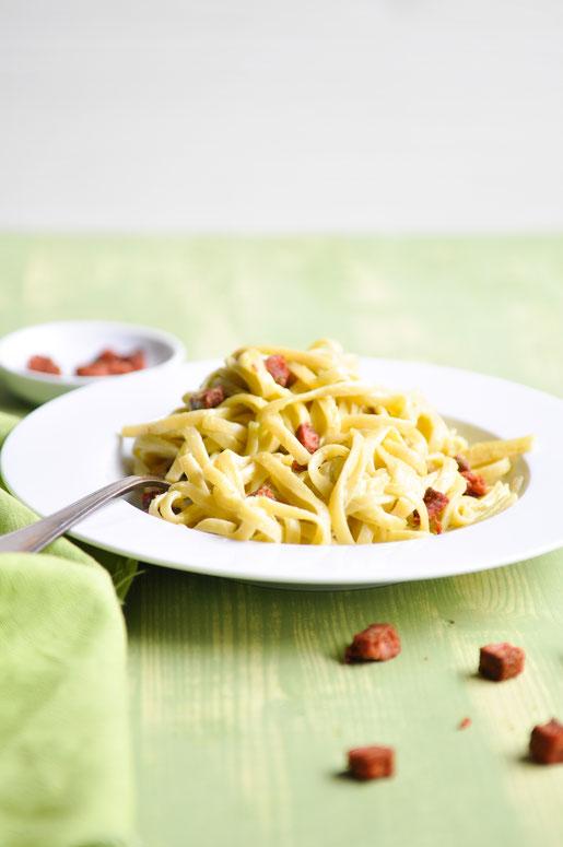 Avocado Carbonara vegetarisch vegan möglich zu Spaghetti oder Linguine