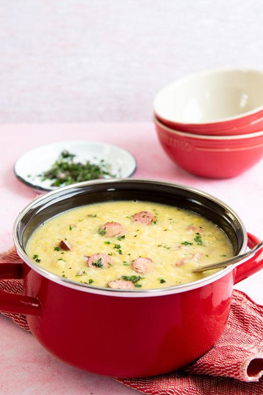 Linsen Lauch Suppe mit Würstchen Thermomix