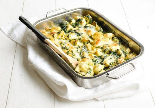 Spinat Tortellini Auflauf vegan möglich vegetarisches Rezept einfach und schnell