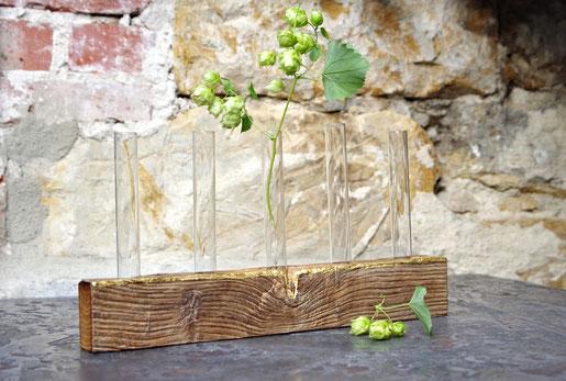 Edle Tischdekoration aus antiker Eichen und Reagenzgläsern für Hochzeiten und Feste, edle Blumenvase mit Blattgold, einzigartiger Tischschmuck