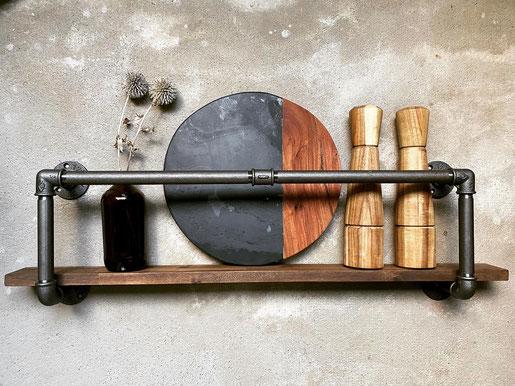 Vintage Küchenregal als Rohrregal Industrial Urban Style Wandregal für die Küche aus Rohren