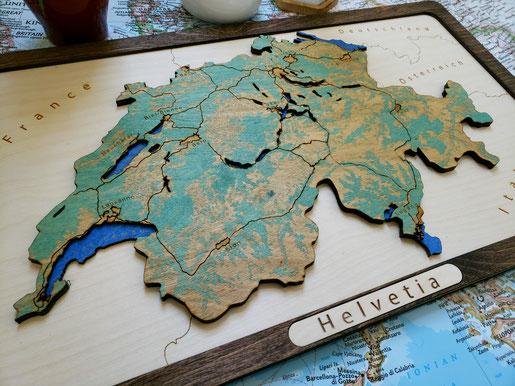 3D Design Landkarte Schweiz Gravierte Holzkarte Wood Map Laser Geschenk Helvetia