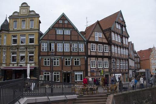 Fachwerkhäuser am Alten Hansehafen in Stade