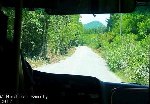 4 Stunden Rückfahrt im Bus nach Gordon River, zur Hälfte auf Schotterpisten