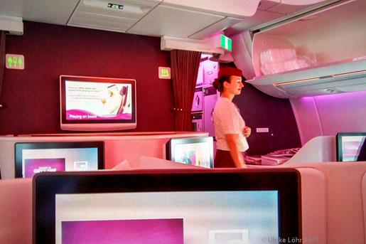 an Bord des A350 von Frankfurt nach Doha