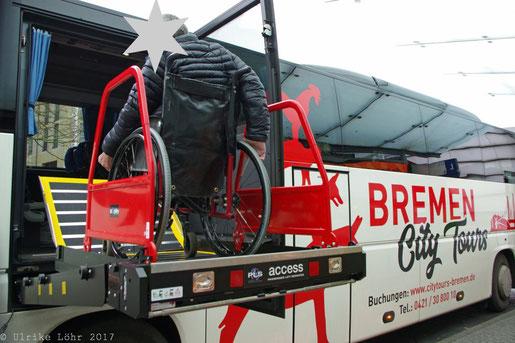 der rollstuhlgeeignete Stadtrundfahrtbus in Bremen