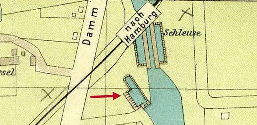 Schleusenanlage mit Trockendock um 1905 - Ausschnitt Stadtplan