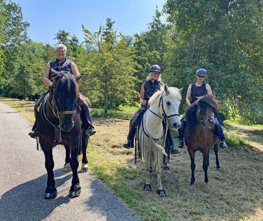 Ich auf Willi, Birgit auf Artali, Franziska auf Kilja 🤩