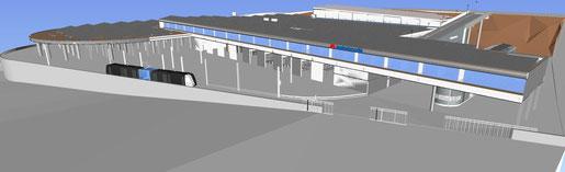Modelo del Edificio de Talleres y Cocheras de Metrotenerife