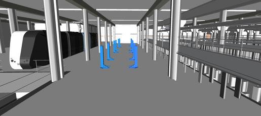 Detalle del interior del edificio de Talleres y Cocheras de Metrotenerife