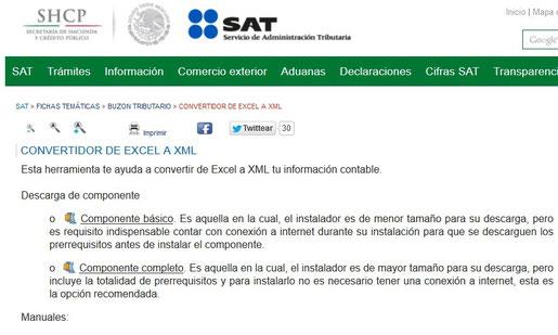 Clic para entrar al enlace del convertidor de Excel a XML del SAT.
