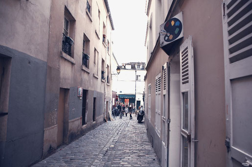Cobblestone alleys of Montmartre, Paris