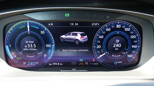 VW e-Golf digitale Instrumentananzeige