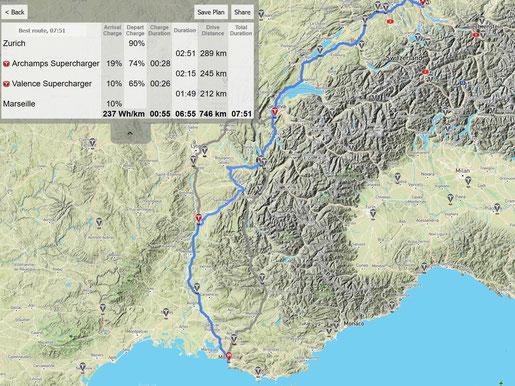Streckenplanung von Zürich (CH) nach Marseille (F) für ein Tesla Model S 100D (Screenshot abetterrouteplanner.com)