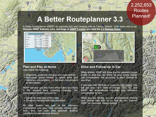 Startseite des Better Routeplanners (Screenshot abetterrouteplanner.com)