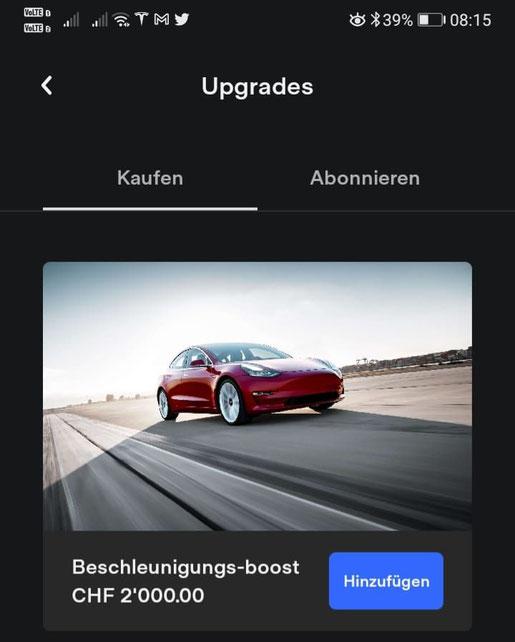 Screenshot Tesla Performance Boost Upgrade