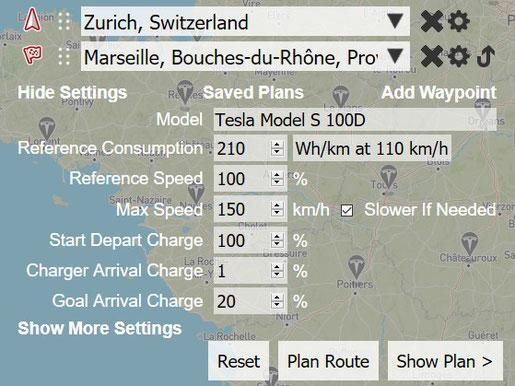 Eingabemaske für die Streckenplannung (Screenshot abetterrouteplanner.com)