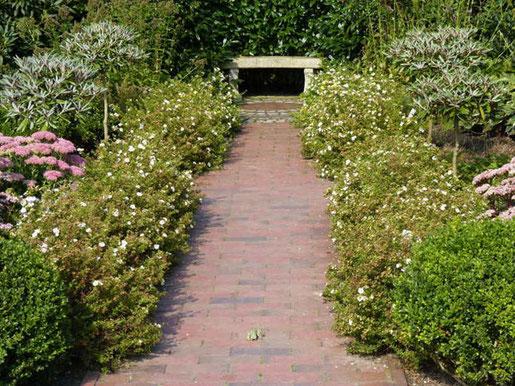 Anders als in den großen barocken Anlagen ist der 'Point de vue' im privaten Garten erheblich kleiner, doch nicht weniger eindrucksvoll. So lässt sich beispielsweise eine Bank wunderbar in Szene setzen. (Fotos: BGL)
