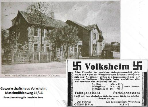 """Das Volksheim als Zentrum der Arbeiterkultur wurde im Mai 1933 """"gleichgeschaltet"""". Anzeige aus dem Göttinger Tageblatt."""