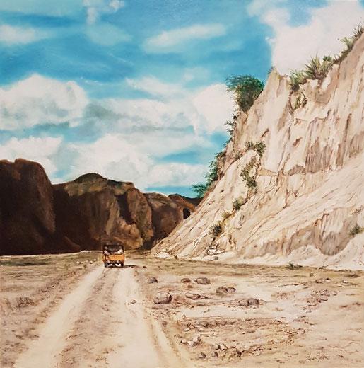 Fahrt zum Pinatobu,  40x40 cm, Öl auf Holzmalplatte, 2019