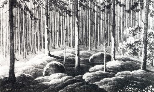 Bottis Grab im Grauholz bey Bern 1829. Quelle der Zeichnung: Heimatkundlicher Führer Bolligen von Karl Ludwig Schmalz, S. 69.