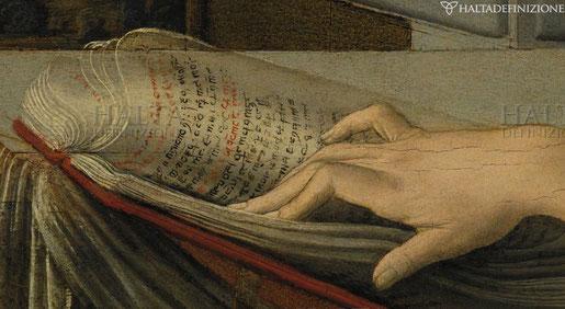 """Eine Hand durchblättert ein Buch mit hebräischen Schriftzeichen. Auch wenn der Maler nicht Hebräisch konnte, wusste er von der kulturellen Wurzel im Judentum. Detail aus Leonardo Da Vincis """"Verkündigung"""", um 1475"""