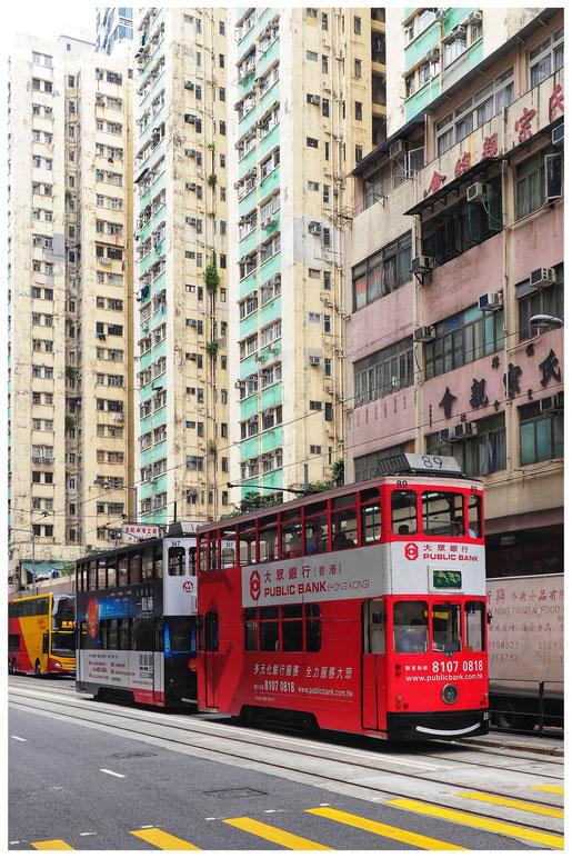 Hongkong - Sheung Wan - Des Voeux Road West - Ding Ding - Straßenbahn