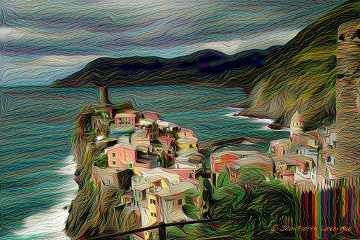 Photo de Vernazza (JPL), interprétée par Deep Dream