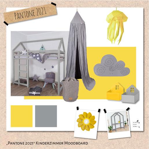 Kinderzimmerfarben Grau und Gelb