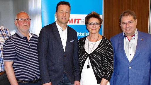 """Sie steuern das """"Schiff"""" der Stolberger CDU-Mittelstandsvereinigung: (v.l.) Artur Kaldenbach, Martin Hennig, Waltraud Strang und Wolfgang Schmitz. Es fehlt Siegfried Winands. Foto: T. Dörflinger"""