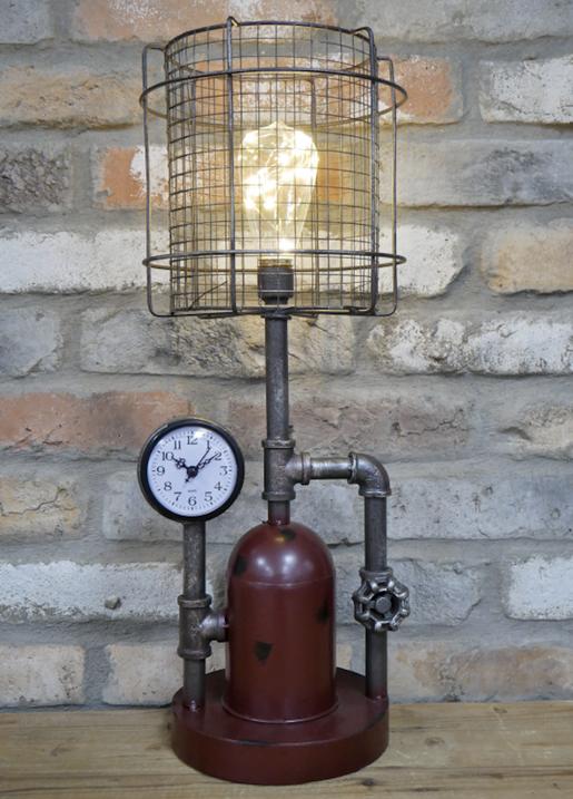 Steampunk Uhr Industrial Design Stehlampe Wanduhr Vintage Eisenuhr