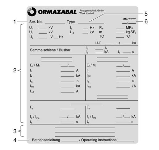 Leistungsschild - Ormazabal - Schaltberechtigung - Schaltgerät - Schaltanlage